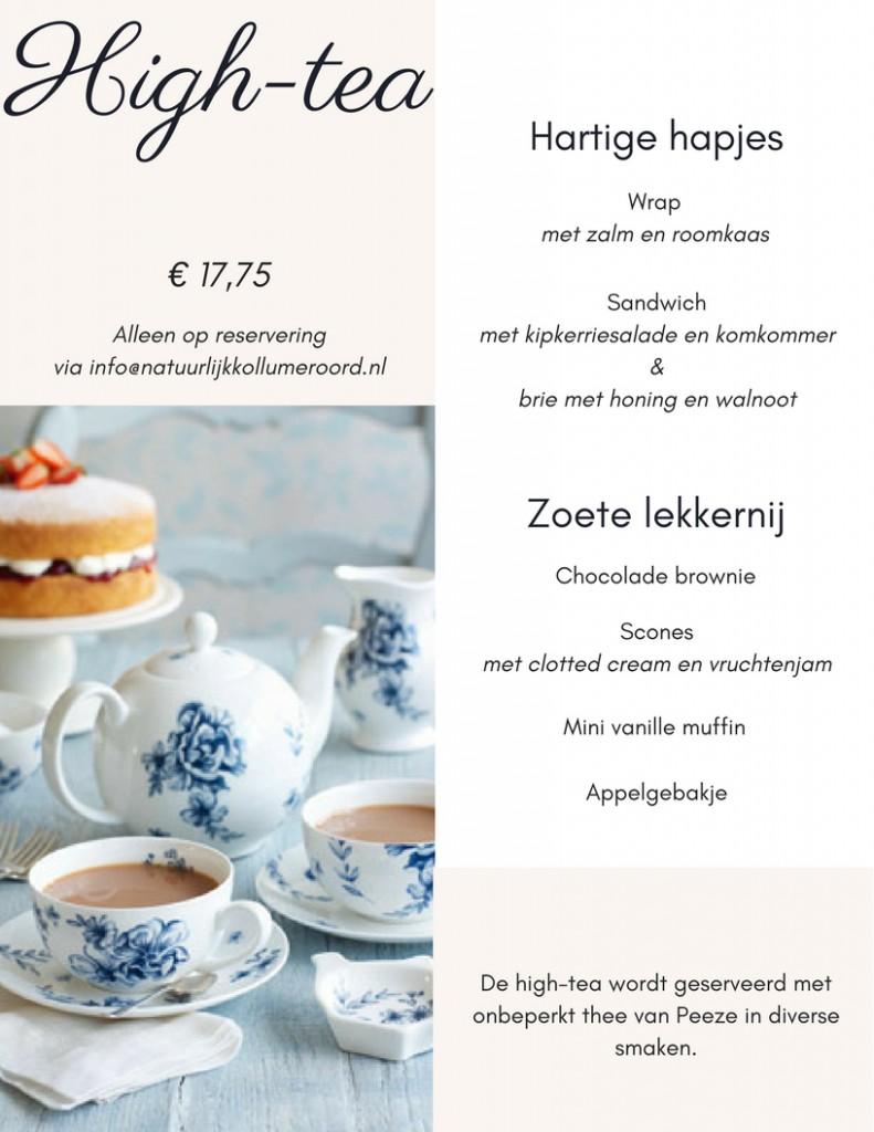 High-tea menukaart